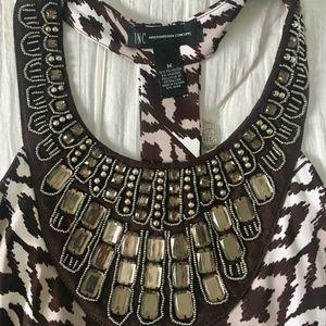 Printed Boho & Jewel Embellished Dress Size Medium